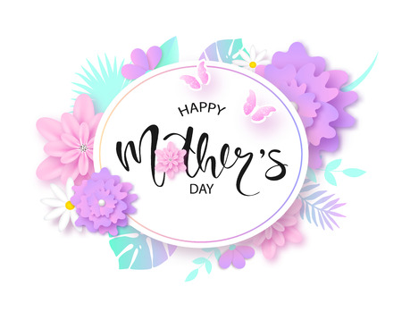 Happy Mothers Day greeting card design Vectores