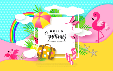 Hello Summer banner with Sweet Vacation Elements. Paper Art. Tropical plants, butterflies,pink flamingo, pineapple, crab, rainbow,flip flops, umbrella, suitcase,watermelon,starfish, clouds. Vector.
