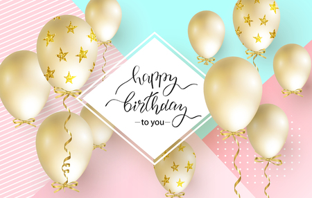 Happy Birthday celebration typography design for greeting card, poster or banner with realistic golden balloons. Vector illustration. Illustration