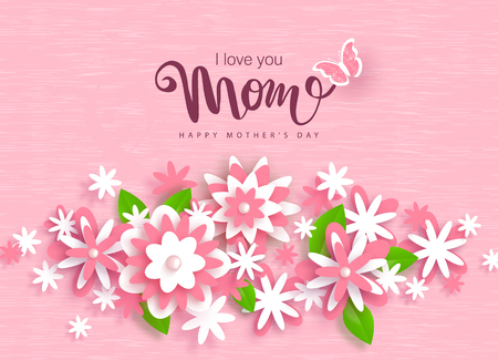 Happy Mothers Day greeting card design with beautiful paper flowers. Stock Illustratie