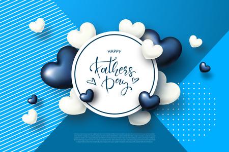 Tarjeta de felicitación de feliz día del padre con corazones. Ilustración vectorial