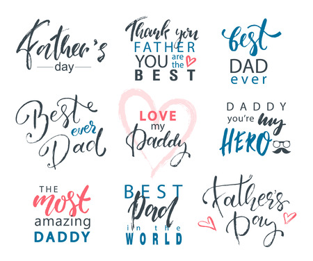 Fathers Day Lettering Calligraphic Emblems, Badges Set. Happy Fathers Day, Best Dad, Love You Dad Inscription. Vector Design Elements For Greeting Card and Other Print Templates Illustration