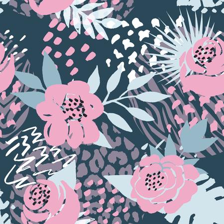 Fond de beau motif floral vectorielle continue. Parfait pour les fonds d'écran, les arrière-plans de pages Web, les textures de surface, les textiles et autres motifs