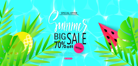 Summer Big sale banner template with tropical leaves and fruits. Paper style. Vector illustration Vectores