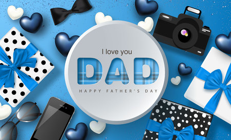 Happy Father's day banner design with gifts boxes,camera, phone, sunglasses,bow tie and hearts.Vector illustration. Stock Illustratie