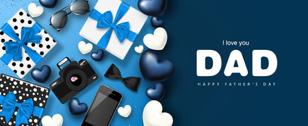 Happy Father's day banner design with gifts boxes,camera, phone, sunglasses,bow tie and hearts.Vector illustration. 矢量图像