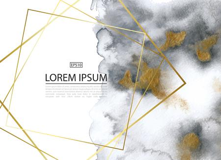 Luxe achtergrond met goud en grijs marmer aquarel textuur. Perfect voor wallpapers, web pagina-achtergronden, oppervlakte texturen, ontwerp van kaarten, uitnodigingen en ander ontwerp. Vector illustratie.