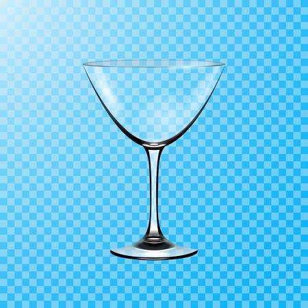 Transparent vector glass. Glass goblet for martini cocktails vector illustration .
