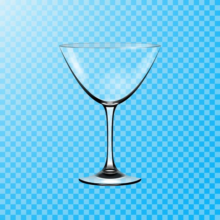Transparent vector glass. Glass goblet for martini cocktails vector illustration .