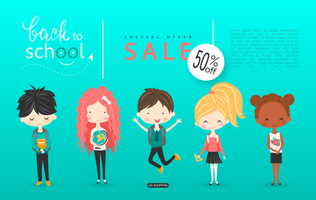 Back to school sale vector background with schoolchildren. Vector illustration for website , posters, email and newsletter designs, ads, coupons, promotional material. Vector Illustration