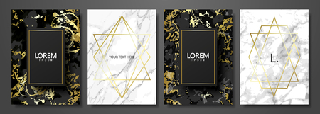 Luxury cards collection with marble texture and gold geometric shape.Vector trendy background. Modern set of abstract card, template,posters,invitational.