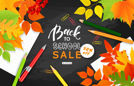 Back to school sale banner.Autumn leaves, pencils, paper clips and notebook sheets on the blackboard.Vector illustration for website , posters, ads, coupons, promotional material 일러스트