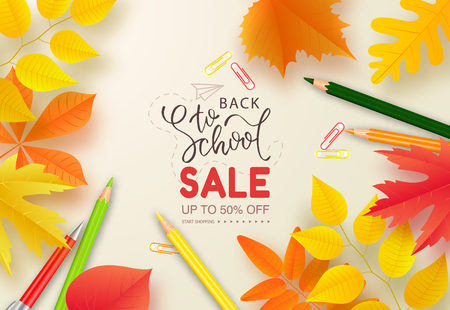 Back to school sale banner.Autumn leaves, pencils and pen on white background.Vector illustration for website , posters, ads, coupons, promotional material