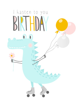 Cute crocodile with balloons and flower on rollers.Happy birthday. Greeting card, banner, poster. Vector illustration. 일러스트