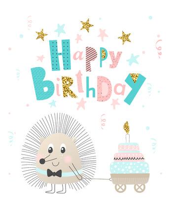 Hérisson mignon avec gâteau. Bon anniversaire. Carte de voeux, bannière, affiche Illustration vectorielle
