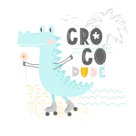 Hand drawn vector illustration of a cute funny crocodile on the rollers with lettering quote Croco Dude. Isolated objects. Scandinavian style flat design. Concept for children print. Illustration