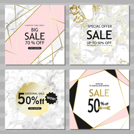 Modern geometric social media banners with golden lines, triangles, marble texture background. Square template for design card, flyer, invitation, party, birthday, wedding, website.