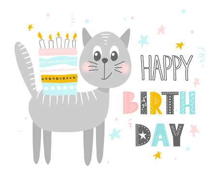 Cute cat with cake .Happy birthday. Greeting card, banner, poster. Scandinavian style flat design. Concept for children print. Vector illustration