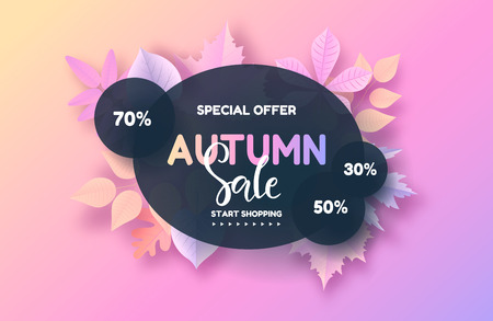 Trendy autumn background with leaves. Gradient leaf coloring. Sale banner template Fall seasonal poster or card. Vector illustration.