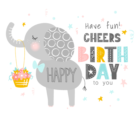 Cute elephant with a basket of flowers .Happy birthday. Greeting card, banner, poster. Scandinavian style flat design. Concept for children print. Vector illustration