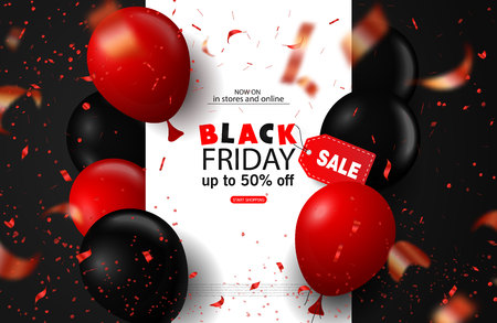 Black friday sale background with balloons and serpentine. Modern design.Universal vector background for poster, banners, flyers, card Vector Illustration