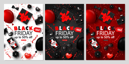Black Friday Sale Vertical Banners Set. Bowtie,smartphone, camera, gift box, sunglasses, hearts,balloons, flowers and serpentine. Universal vector background for poster, banners flyers card Vectores