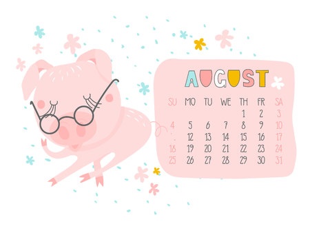 Creative calendar for August 2019 with cute pig. Concept, vector vertical editable template. Symbol of the year in the Chinese calendar. Funny cartoon characters.Vector illustration