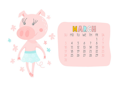Creative calendar for March 2019 with cute pig. Concept, vector vertical editable template. Symbol of the year in the Chinese calendar. Funny cartoon characters.Vector illustration.