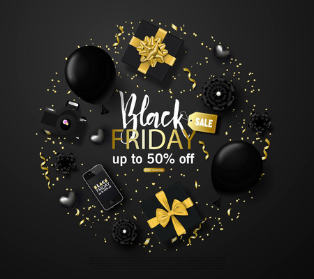 Black friday sale background with flowers, smartphone, hearts,balloons, gift boxes and gold serpentine. Modern design.Universal vector background for poster, banners, flyers, card