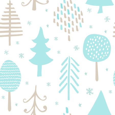 Seamless pattern with hand-drawn trees. Modern abstract design for paper, wallpaper, cover, fabric and other users. Vector illustration