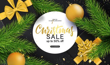 Fondo de feliz Navidad y próspero año nuevo para tarjeta de felicitación navideña, invitación, volante de fiesta, cartel, banner. Bolas de árbol de Navidad, ramas de abeto, caja de regalo y confeti. Ilustración vectorial Ilustración de vector