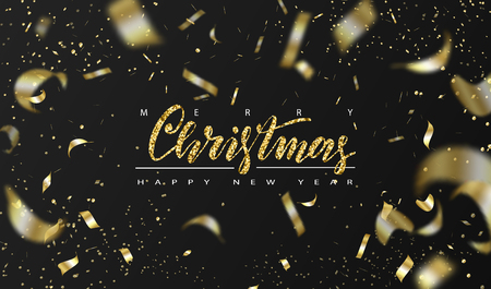 Merry Christmas and Happy New Year background for holiday greeting card, invitation, party flyer, poster, banner. Gift box and confetti. Vector illustration.