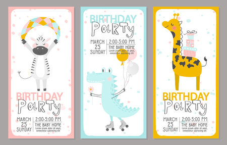 Set of Birthday party invitation templates with cute animals. Vector illustration. Çizim