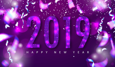 2019 Happy New Year background with sequins and serpentine. Modern design.Universal vector background for poster, banners, flyers, card