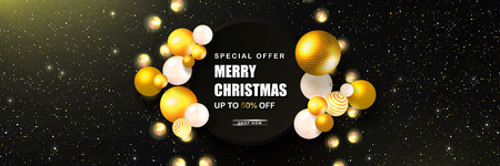 Merry Christmas Sale poster with abstract volumetric balls and luminous garlands . Vector illustration. Design for invitation, banners, ads, coupons, promotional material. Ilustração