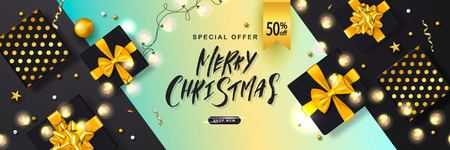 Merry Christmas Sale poster with luminous garlands,gift boxes and shiny serpentine . Vector illustration. Design for invitation, banners, ads, coupons, promotional material.