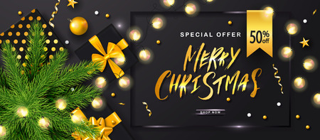 Merry Christmas Sale poster with luminous garlands,gift boxes,Christmas tree and shiny serpentine . Vector illustration. Design for invitation, banners, ads, coupons, promotional material
