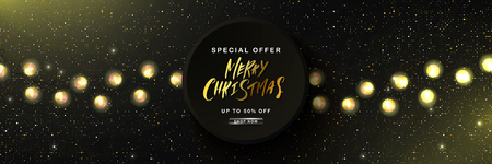 Merry Christmas Sale poster with golden glitter and garland. Vector illustration. Design for invitation, banners, ads, coupons, promotional material Ilustração