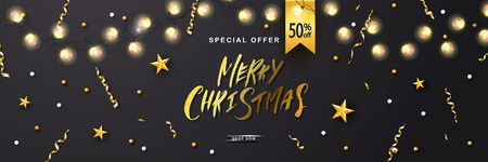 Merry Christmas Sale poster with luminous garlandsand shiny serpentine . Vector illustration. Design for invitation, banners, ads, coupons, promotional material. Ilustração