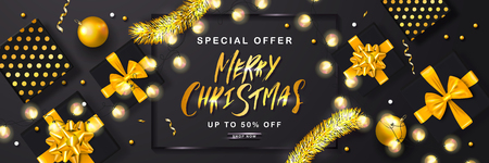 Merry Christmas Sale poster with tinsel,gift boxes,Christmas balls and shiny serpentine . Vector illustration. Design for invitation, banners, ads, coupons, promotional material Ilustração