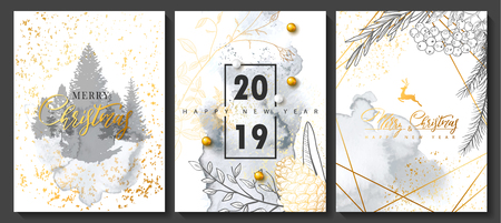 2019 Merry Christmas and Happy New Year Luxury cards collection with watercolor texture and Golden geometric shape .Vector trendy background