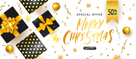 Merry Christmas Sale poster with gift boxes,Christmas balls and shiny serpentine . Vector illustration. Design for invitation, banners, ads, coupons, promotional material