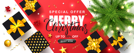 Merry Christmas Sale poster with Christmas tree, garland, gift boxes, serpentine, Rowan and gold stars. Vector illustration. Design for invitation, banners, ads, coupons, promotional material