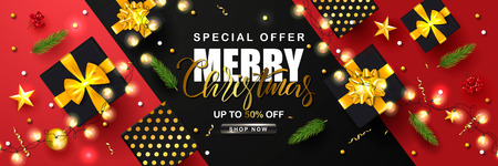 Merry Christmas Sale poster with serpentine,garland, fir branches, gift boxes, Rowan and gold stars. Vector illustration. Design for invitation, banners, ads, coupons, promotional material Ilustração
