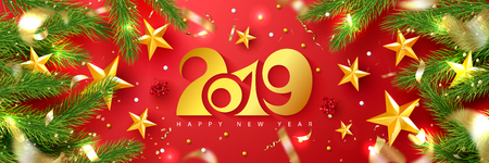 2019 Happy New Year. Universal vector red background with fir branches, Rowan, stars and serpentine. Suitable for promotional materials, postcards,posters banners, flyers. Modern design