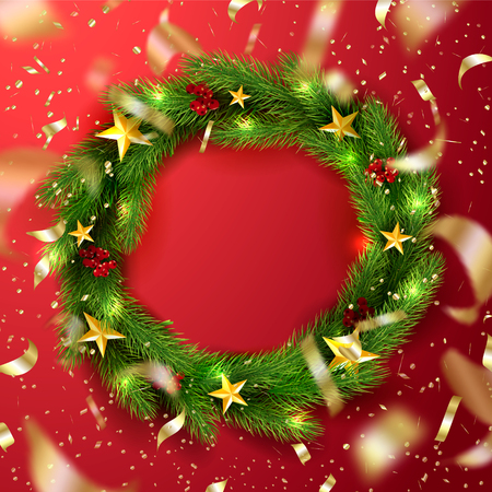 Green Christmas wreath with Rowan,stars and falling gold streamers on a red background. Vector template, space for text Ilustração