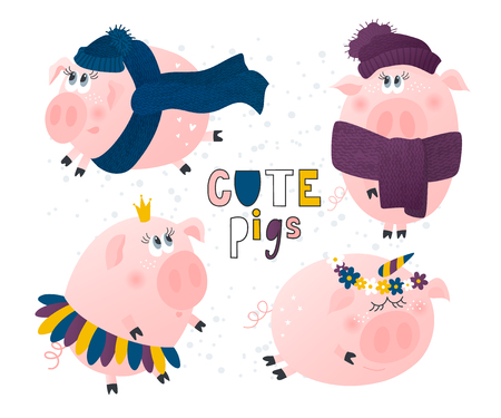 Set of cute pigs. Pig in a hat and scarf,pig-Princess,pig-unicorn.Funny cartoon characters. Vector illustration.