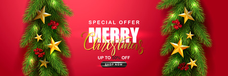 Merry Christmas Sale.Universal vector red background with fir branches, Rowan, stars and serpentine. Suitable for promotional materials, postcards,posters banners, flyers. Modern design