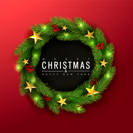 Merry Christmas and Happy New Year.Green Christmas wreath with Rowan and golden stars on a red background.Suitable for promotional materials, postcards,posters banners, flyers. Modern design