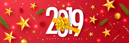 2019 Happy New Year. Universal vector red background with Golden bow,fir branches, Rowan, stars and serpentine. Suitable for promotional materials, postcards,posters banners, flyers. Modern design Ilustração